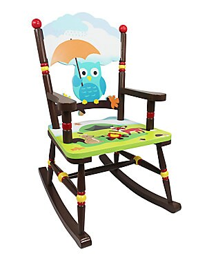 "Image of Rocking chair with handpainted woodland theme 16.75""W X 31""H X 22.75""D Eco-friendly wood and medium-density fiberboard Wipe clean with a damp cloth Imported Recommended for ages 3 and up Some assembly required. Gifts - Decorative Home. Teamson."