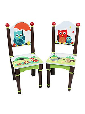 "Image of Handpainted chairs with playful whimsy 11""W X 26.75""H X 11.75""D Eco-friendly wood and medium-density fiberboard Wipe clean with a damp cloth Imported Recommended for ages 3 and up Some assembly required. Gifts - Decorative Home. Teamson."