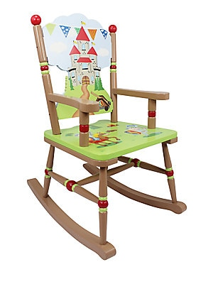 "Image of Handpainted rocking chair with colorful whimsy 11""WX 26""H X 11.75""D Eco-friendly wood and medium-density fiberboard Wipe clean with a damp cloth Imported Recommended for ages 3 and up Some assembly required. Gifts - Decorative Home. Teamson."