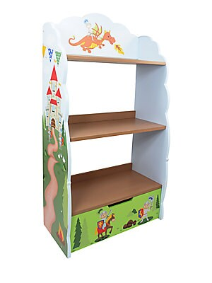"""Image of Whimsical bookshelf for storytime favorites Three shelves, one drawer 11""""W X 26""""H X 6.25""""D Eco-friendly wood and medium-density fiberboard Wipe clean with a damp cloth Imported Recommended for ages 3 and up Some assembly required. Gifts - Decorative Home."""