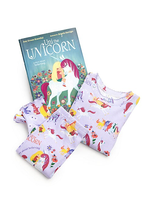 Image of Everyone knows there's no such thing as little girls! Uni the Unicorn is the only Unicorn who believes that little girls are real. Vibrant illustrations portray accompanying book's narrative in this adorable pajama set. Cotton. Machine wash. Made in USA.