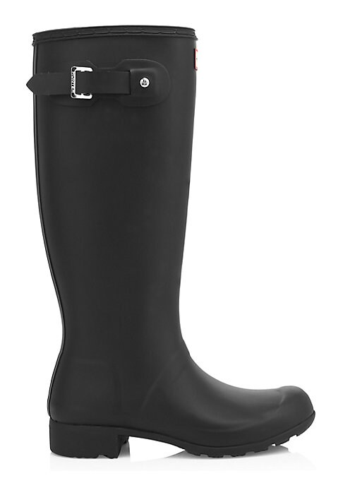 "Image of Packable, flexible rubber rain boots. Rubber heel, 1"" (25mm).Shaft, 14"".Leg circumference, 15.5"".Rubber upper. Buckled side tab. Textile lining. Treaded rubber sole. Lightly padded insole. Imported."