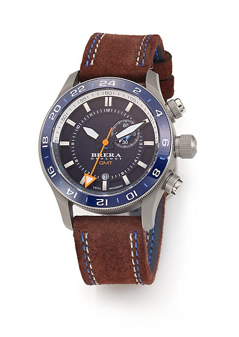 """Image of Stainless steel accessorykeeps time in style. Quartz movement. Water resistant to 10 ATM. Round stainless steel case, 43mm (1.7"""").Smooth bezel. Bar hour markers. Date display at 6 o'clock. Second hand. Suede strap. Made in Italy."""