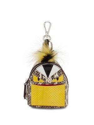 Monster Snakeskin Backpack Charm For Handbag, Natural Multi in Eatural