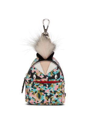 Monster Granite-Print Leather Backpack Charm For Handbag, Multi in Saphire