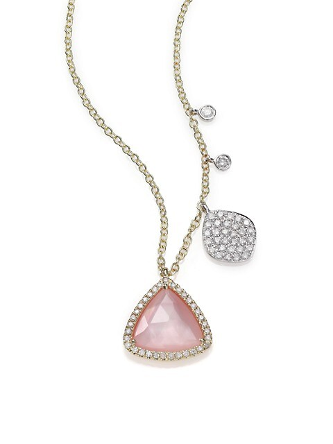 Rose Quartz, Mother-Of-Pearl, Diamond & 14K Yellow Gold Pendant Necklace