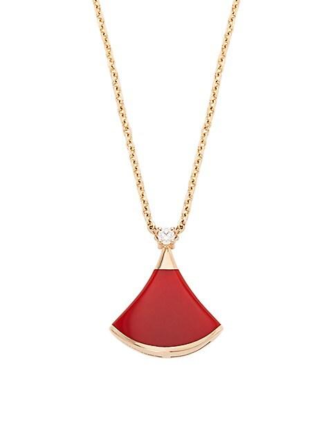 Divas' Dream 18K Rose Gold, Carnelian & Diamond Pendant Necklace