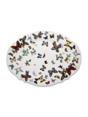 Christian Lacroix By Vista Alegre Butterfly Parade 24k Gold Platinum Trimmed Porcelain Tray Large