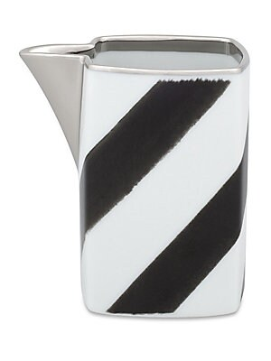 "Image of Bold modern chevron motif on porcelain milk jug. 3.5""W x 3.5""H Porcelain Trim: 24K gold and platinum Dishwasher safe Imported. Gifts - Serveware > Saks Fifth Avenue. Christian Lacroix by Vista Alegre."