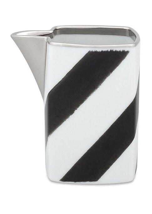 """Image of Bold modern chevron motif on porcelain milk jug.3.5""""W x 3.5""""H.Porcelain. Trim: 24K gold and platinum. Dishwasher safe. Imported."""
