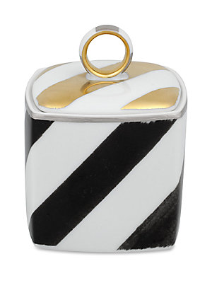"Image of Bold modern chevron motif on porcelain sugar bowl. 3""W x 3""H Porcelain Trim: 24K gold and platinum Dishwasher safe Imported. Gifts - Serveware > Saks Fifth Avenue. Christian Lacroix by Vista Alegre."