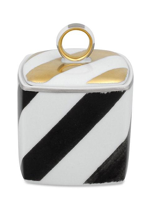 """Image of Bold modern chevron motif on porcelain sugar bowl.3""""W x 3""""H.Porcelain. Trim: 24K gold and platinum. Dishwasher safe. Imported."""