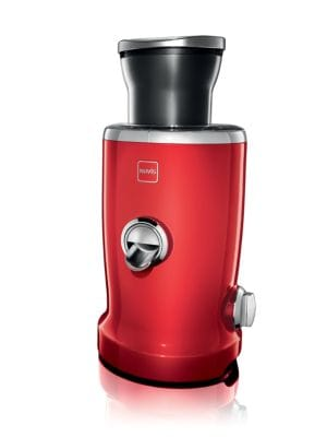 "Image of Multifunctional juicer combining a juicer and citrus press. Single operating button (on/off).Cast metal housing. Stainless steel blades. Triton plastic accessories.8""L x 8""D x 12.4""H.Imported."