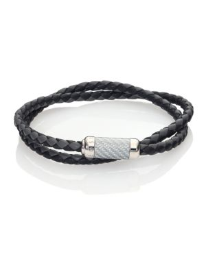"Image of Woven leather bracelet accented with sterling silver. Leather & sterling silver. Length, about 8"" .Diameter, about 3"".Clasp closure. Imported."
