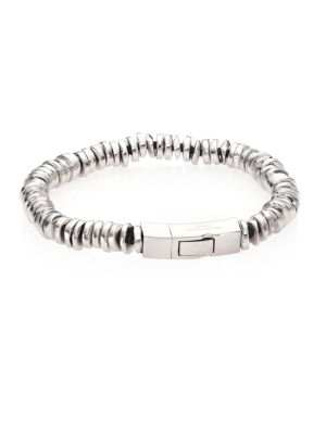 """Image of Attractive bracelet with lustrous metal disc beads. Leather/cotton. Rhodium-plated sterling silver. Length, about 7"""".Diameter, about 3"""".Click clasp. Made in UK."""