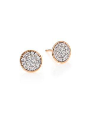GINETTE NY Sequins Diamond & 18K Rose Gold Stud Earrings