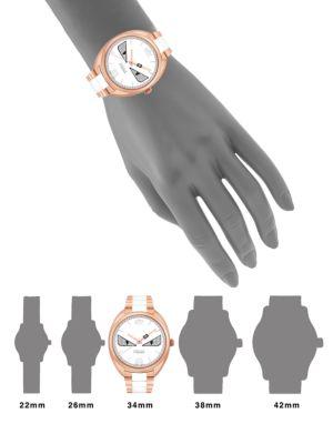 Fendi Momento  Bug Diamond, Rose Goldtone Stainless Steel & Ceramic Bracelet Watch, Na