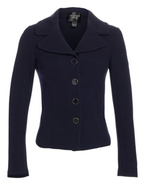 Caviar Collection Fitted Boucle Jacket in Navy
