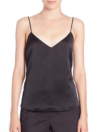 Jane V-Neck Spaghetti-Strap Silk Tank, Black
