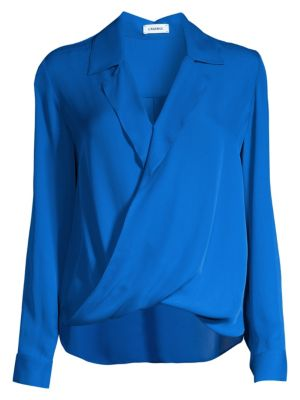 L'agence Tops Rita Drape-Front Silk Blouse