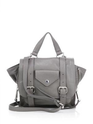 LINEA PELLE Rowan Mini Leather Messenger Bag in Smoke