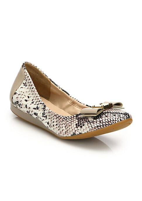 Image of Classic ballet style in exotic snake-embossed leather. Snake-embossed leather upper. Leather lining. Rubber sole. Padded insole. Imported.
