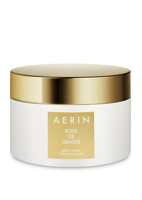 Image of A luxurious body cream infused with the Rose de Grasse scent. This moisture rich cream leaves skin with a delicate hint of the AERIN Rose de Grasse scent. 6.5 oz. Imported.