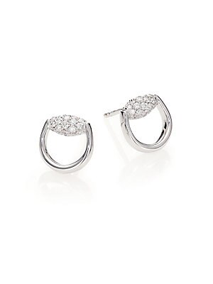 b12accf77 Gucci - Horsebit Diamond & 18K White Gold Stud Earrings - saks.com