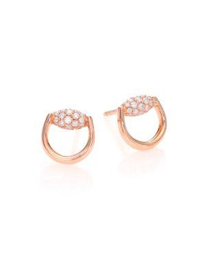 Horsebit Diamond & 18 K Rose Gold Stud Earrings by Gucci