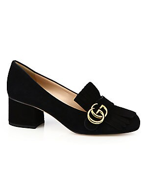 06dbffe6f Gucci - Marmont GG Suede Block Heel Pumps - saks.com