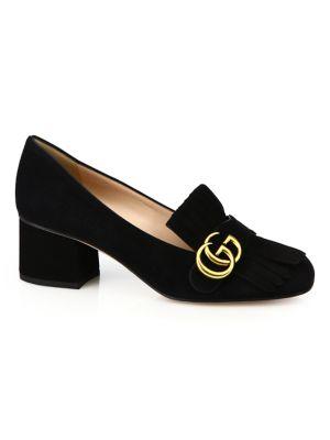Gucci Fringed Logo-Embellished Suede Pumps In Black