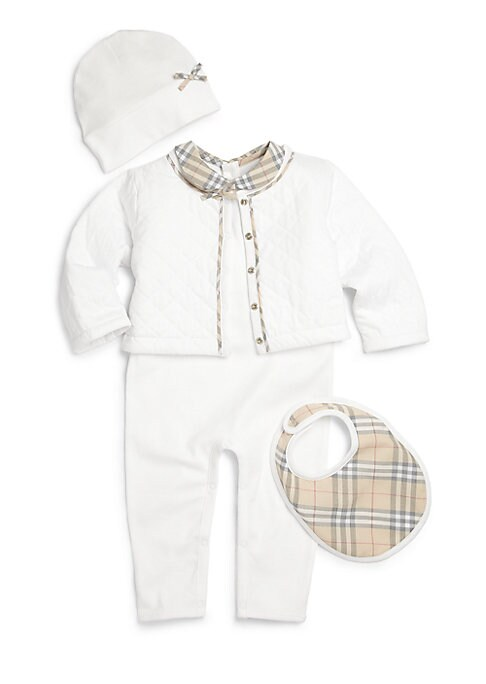 Babys FourPiece Jacket Coverall Hat  Bib Set