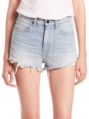 """Image of High-rise shorts with well-worn frayed hem. Belt loops. Zip fly with button closure. Five-pocket style. Frayed hem. Rise, about 12"""".Inseam, about 3"""".Leg opening, about 25"""".Cotton. Dry clean. Made in USA of imported fabric. Model shown is 5'10"""" (177cm) wea"""
