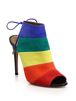 Aquazzura - Rainbow Suede Peep-Toe Booties