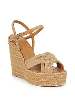 566cbad45797 Saint Laurent Woven Espadrille Wedge Sandals