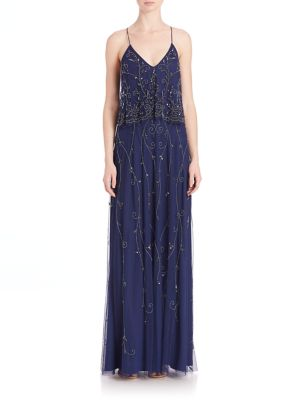 Beaded Popover Bridesmaid Gown by Aidan Mattox