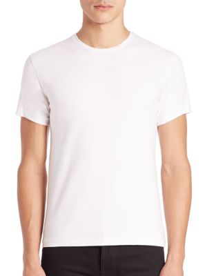 PATRICK ASSARAF David Solid Crewneck Tee in White