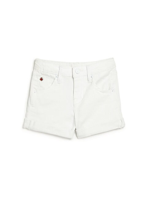 Image of Rolled jean shorts in crisp wash. Belt loops. Zip fly with button closure. Five-pocket style. Back buttoned flap patch pockets. Cotton/polyester/viscose/spandex. Machine wash. Imported.