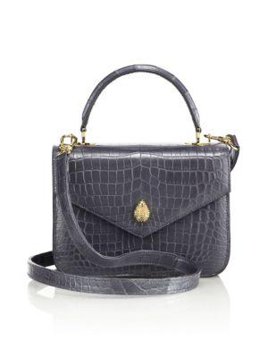 ETHAN K 1418 Mini Crocodile Crossbody Bag in Silver