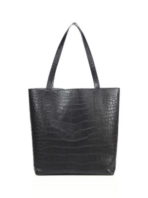 ETHAN K Sands Reversible Crocodile Tote in Black Ombre