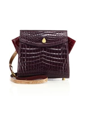 Ethan K Adina Small Crocodile Crossbody Bag