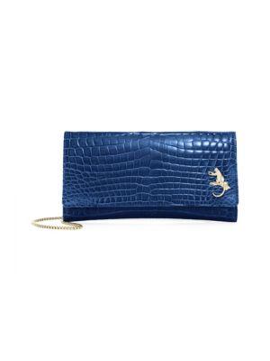 ETHAN K Mrs. Baker Crocodile Clutch in Electric Blue