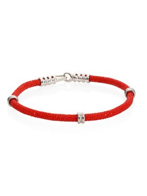 STINGHD Pure Silver & Stingray Bracelet in Red
