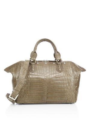 ETHAN K Ethan 11 Crocodile Weekender Bag in Albatre Green