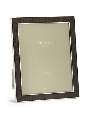 """Image of Classicly cool frame to store your memories. Small accommodates a 4""""W x 6""""H photo Medium accommodates a 5""""W x 7""""H photo Large accommodates a 8""""W x 10""""H photo Faux suede Silver-plated zinc Imported. Gifts - Frames And Leather Acces. Addison Ross. Color: Br"""