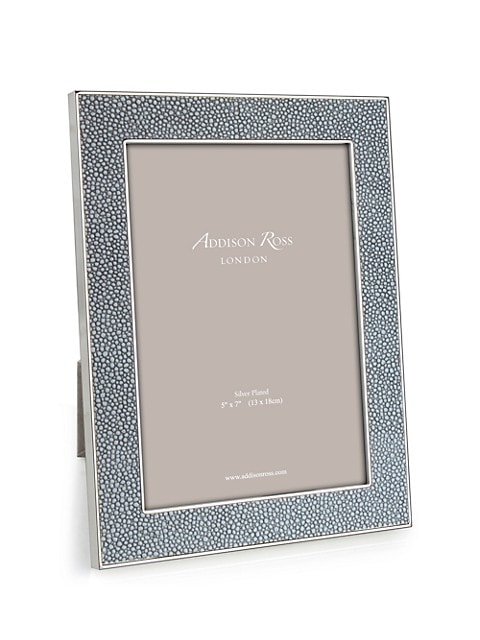 Grey Faux-Shagreen Photo Frame