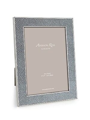 """Image of Elegant keepsake with textural border finish. Accommodates a 8""""W x 10""""H photograph Overall: 8""""W x 11""""H x 1""""D Silver-plated zinc/faux shagreen Spot clean Imported. Gifts - Frames And Leather Acces. Addison Ross."""