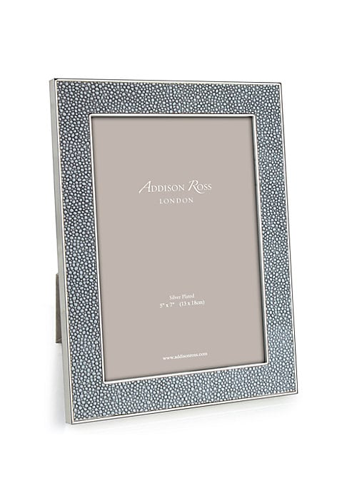 """Image of Elegant keepsake with textural border finish. Accommodates a 8""""W x 10""""H photograph. Overall: 8""""W x 11""""H x 1""""D.Silver-plated zinc/faux shagreen. Spot clean. Imported."""
