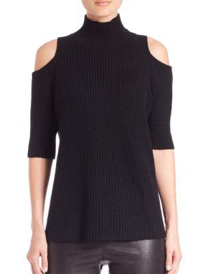 Knitlab Gondola Cold-Shoulder Turtleneck Sweater in Black