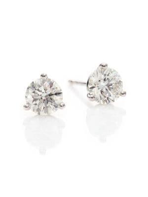 HEARTS ON FIRE Diamond & 18K White Gold Three-Prong Stud Earrings
